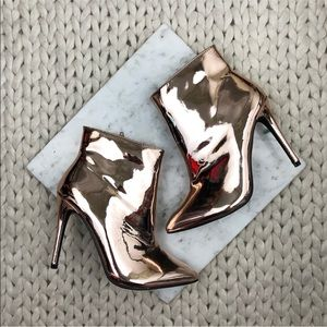 Liliana Rose Gold Metallic Heeled Ankle Boots